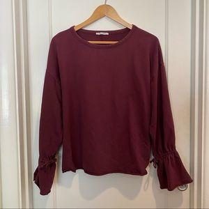 Zara Trafaluc Burgundy Sweatshirt